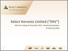 Select Harvests 2018 First Half Results
