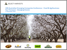 UBS Australian Emerging Companies Food & Agribusiness Conference