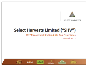 Select Harvests Annual Management Briefing & Site Tour 2017