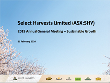 Select Harvests 2019 AGM Presentation